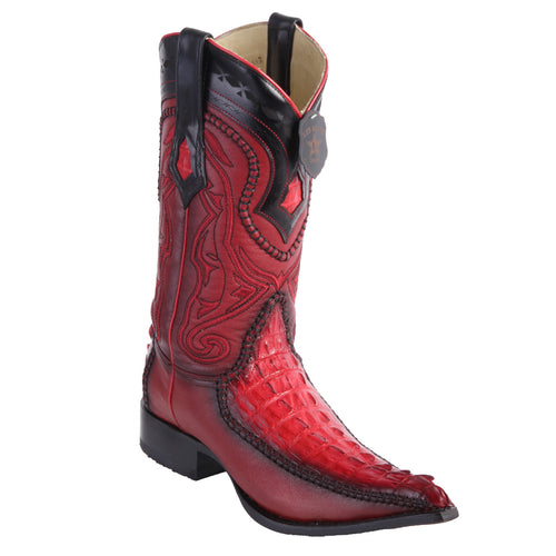Los Altos Boots Caiman Tail 3x Toe Stitched Boots - Red