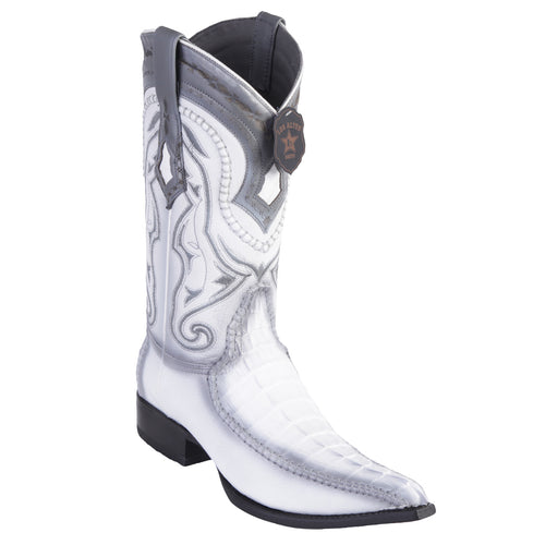 Los Altos Boots Caiman Tail 3x Toe Stitched Boots - White