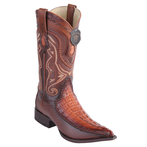 Los Altos Boots Caiman Tail 3x Toe Stitched Boots - Faded Cognac