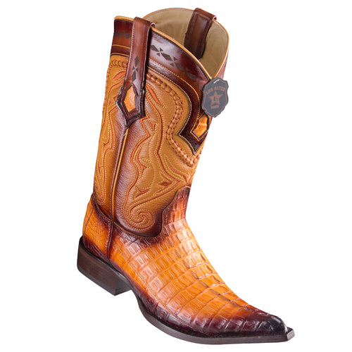Los Altos Boots Caiman Tail Pointed Toe Cowboy Boots - Faded Buttercup