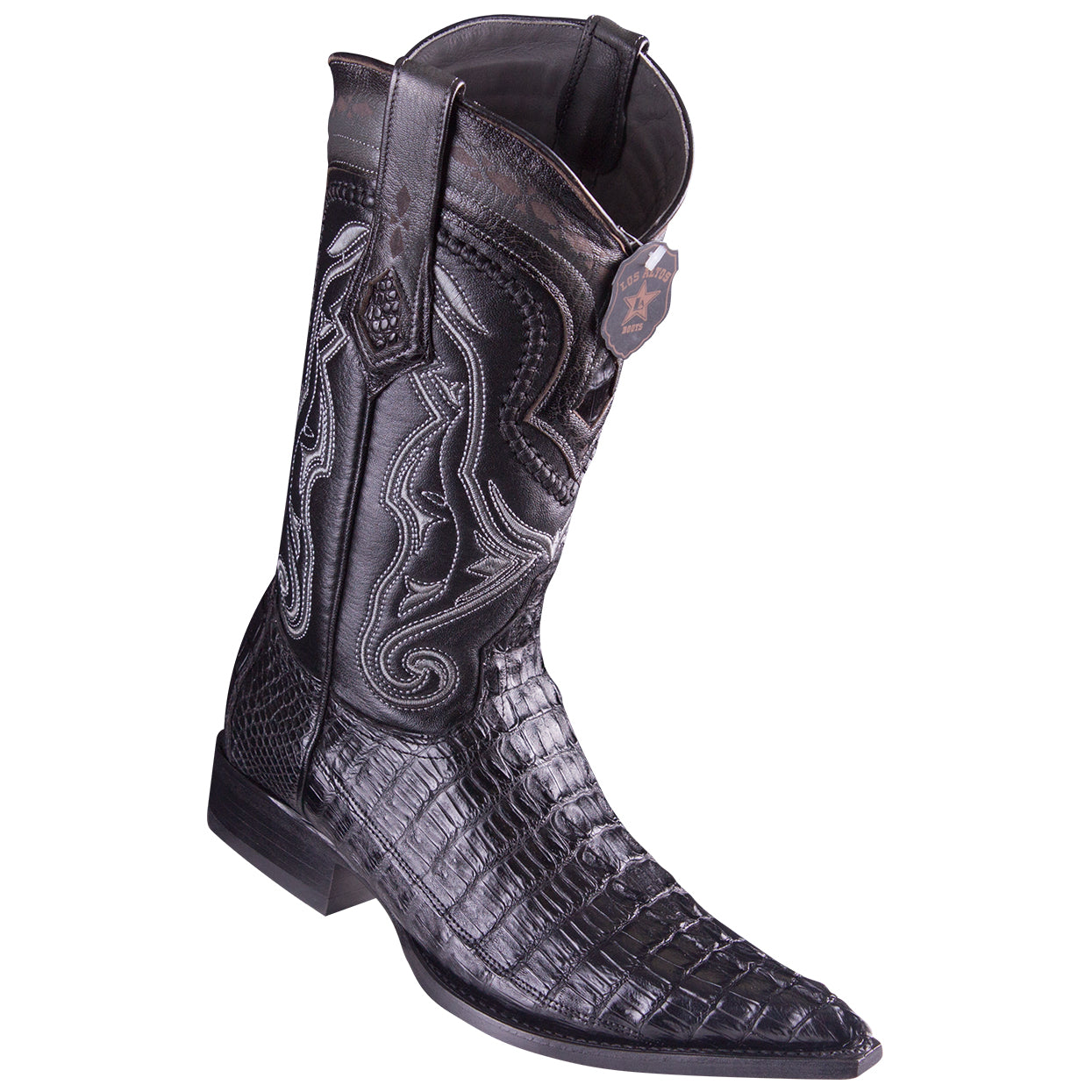 Los Altos Boots Caiman Tail Black Pointed Toe Cowboy Boots
