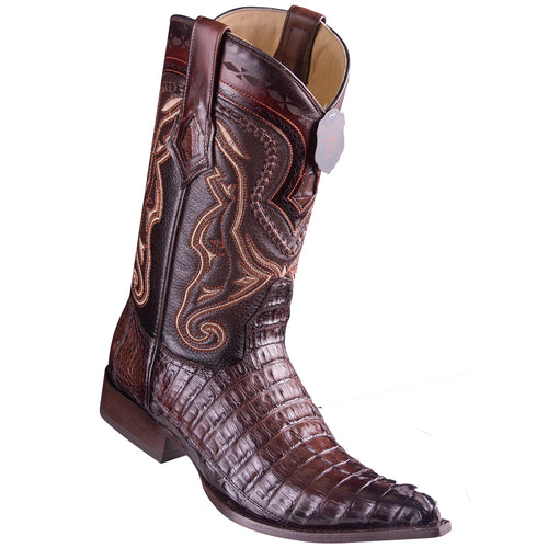 Los Altos Boots Caiman Tail Faded Brown Pointed Toe Cowboy Boots