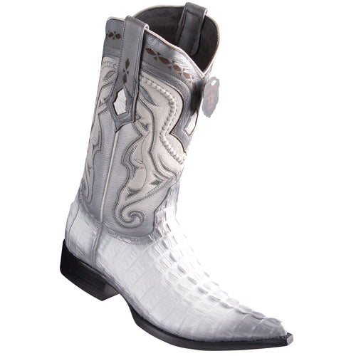 Los Altos Boots Caiman Tail White Pointed Toe Cowboy Boots