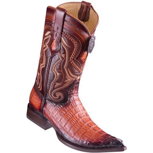 Los Altos Boots Caiman Tail Faded Cognac Pointed Toe Cowboy Boots