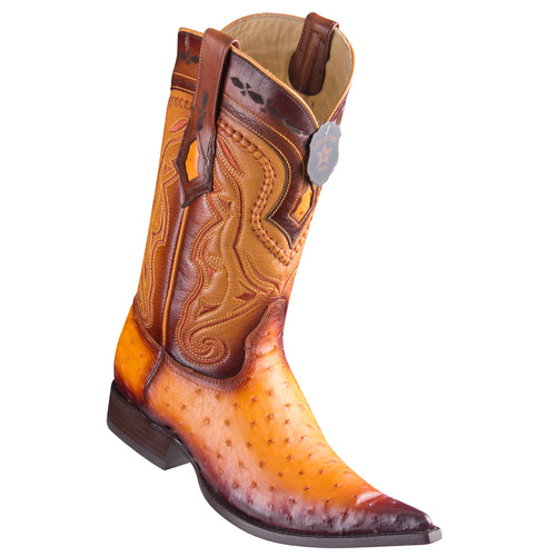 Los Altos Ostrich Faded Buttercup Pointed Toe Cowboy Boots