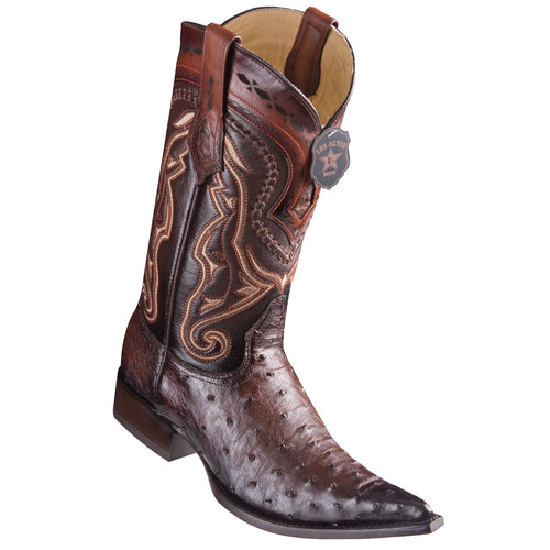 Los Altos Ostrich Faded Brown Pointed Toe Cowboy Boots