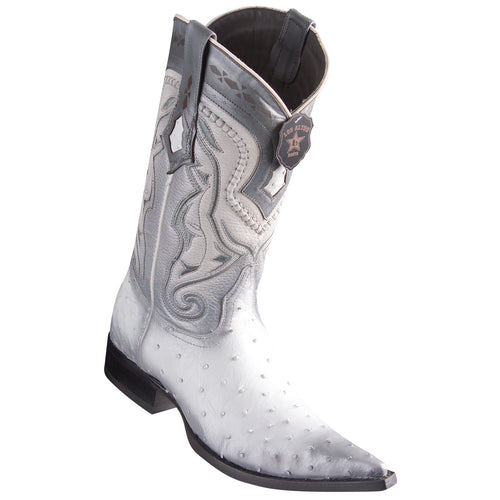 Los Altos Ostrich Faded White Pointed Toe Cowboy Boots