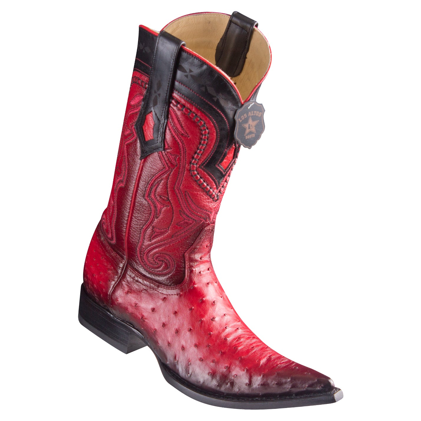 Los Altos Ostrich Faded Red Pointed Toe Cowboy Boots