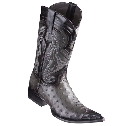 Los Altos Ostrich Faded Grey Pointed Toe Cowboy Boots