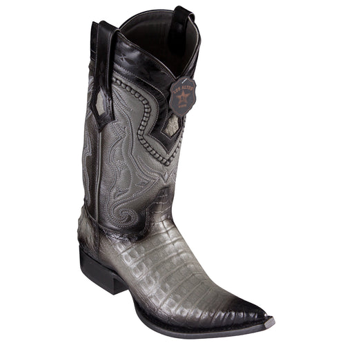 Los Altos Caiman Belly Faded Grey Pointed Toe Cowboy Boots