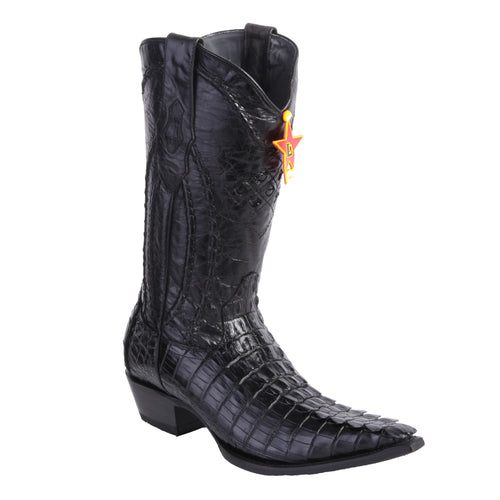 Los Altos Men's Caiman Tail 3x Toe Black Cowboy Boots