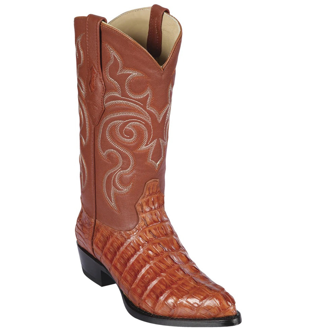 Los Altos Cognac Caiman Tail J-Toe Boot
