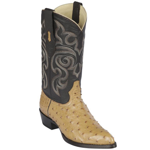 Los Altos J-Toe Ostrich Antique Saddle Cowboy Boots