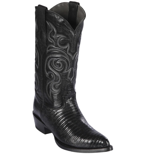 Los Altos Boots Mens Lizard Cowboy Boots J-Toe Black