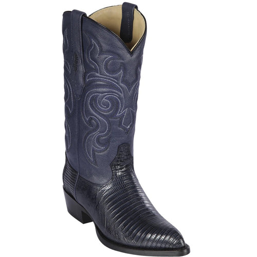 Los Altos Boots Mens Lizard Cowboy Boots J-Toe Navy Blue
