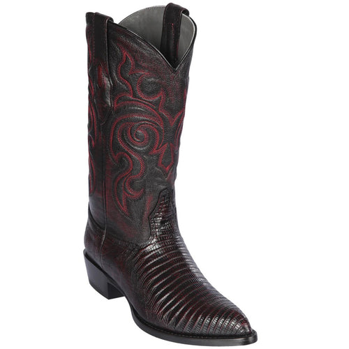 Los Altos Boots Mens Lizard Cowboy Boots J-Toe Black Cherry
