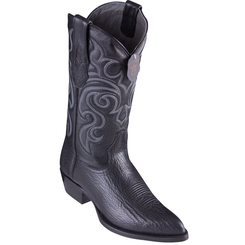 Los Altos Shark Black Cowboy Boots J-Toe
