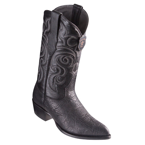 Los Altos Bull Shoulder Black Cowboy Boots J-Toe
