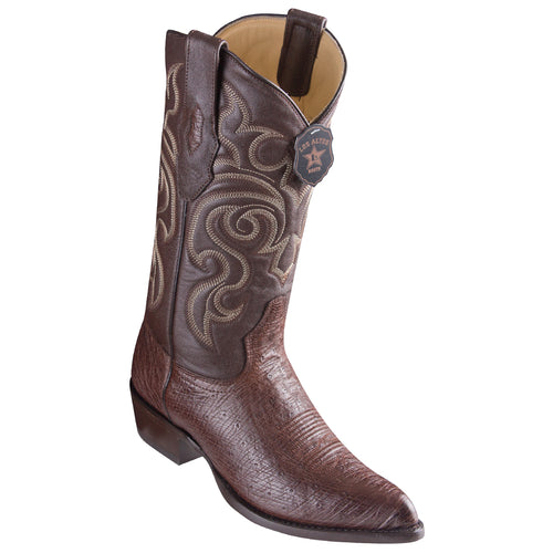 Los Altos Smooth Ostrich Brown Cowboy Boots J-Toe