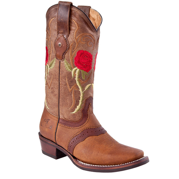 Tombstone Arena Queen Women's Red Rose Square Toe Boots - VaqueroBoots.com