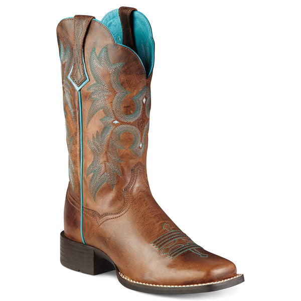Ariat Women's Tombstone Square Toe Cowgirl Boots Sassy Brown - VaqueroBoots.com - 1