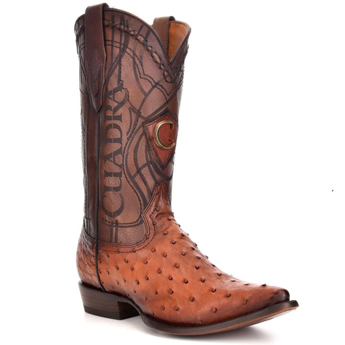 Cuadra Men's Traditional Ostrich Boots Honey