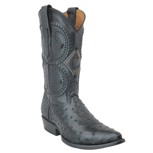 Cuadra Mens Black Ostrich Semi Pointed Cowboy Boots