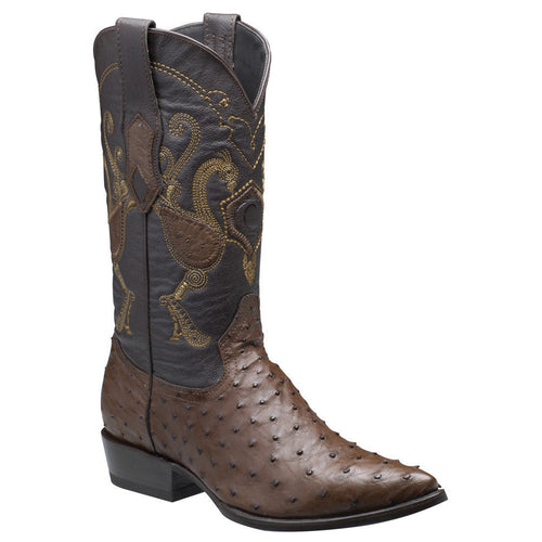 Cuadra Men's Traditional Ostrich Western Boots Brown - VaqueroBoots.com