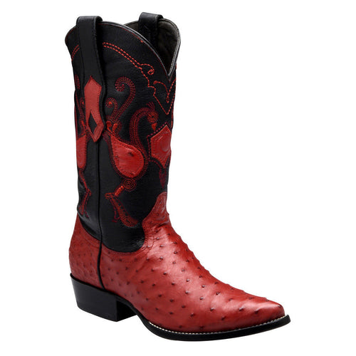 Cuadra Men's Traditional Ostrich Western Boots Red - VaqueroBoots.com