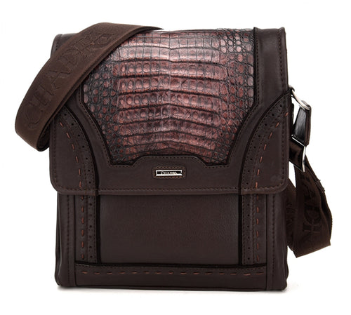 Cuadra Lumber Mocha Caiman Belly Messenger Bag