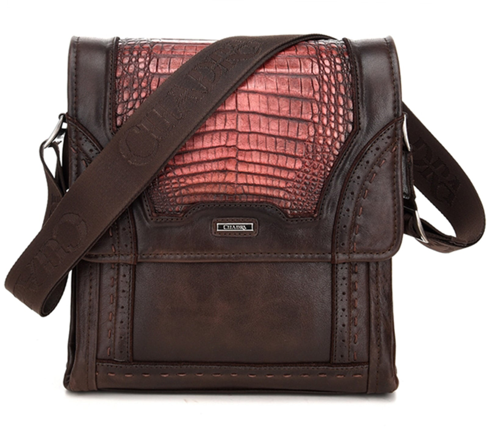 Cuadra Lumber Whisky Caiman Belly Messenger Bag