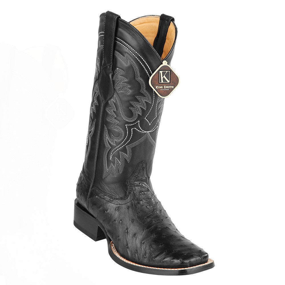 King Exotic Men's Ostrich Wide Square Toe Boots - VaqueroBoots.com - 3