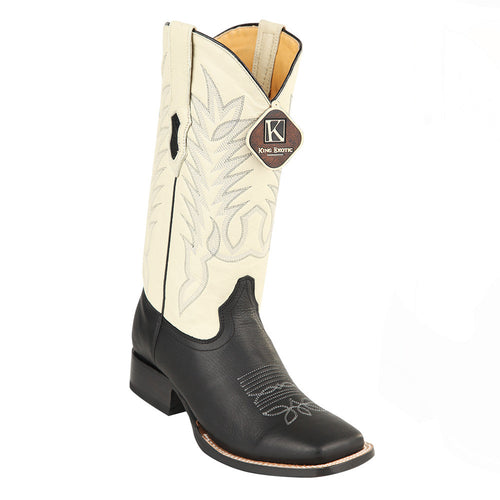 King Exotic Men's Grisly Black Wide Square Toe Boots - VaqueroBoots.com
