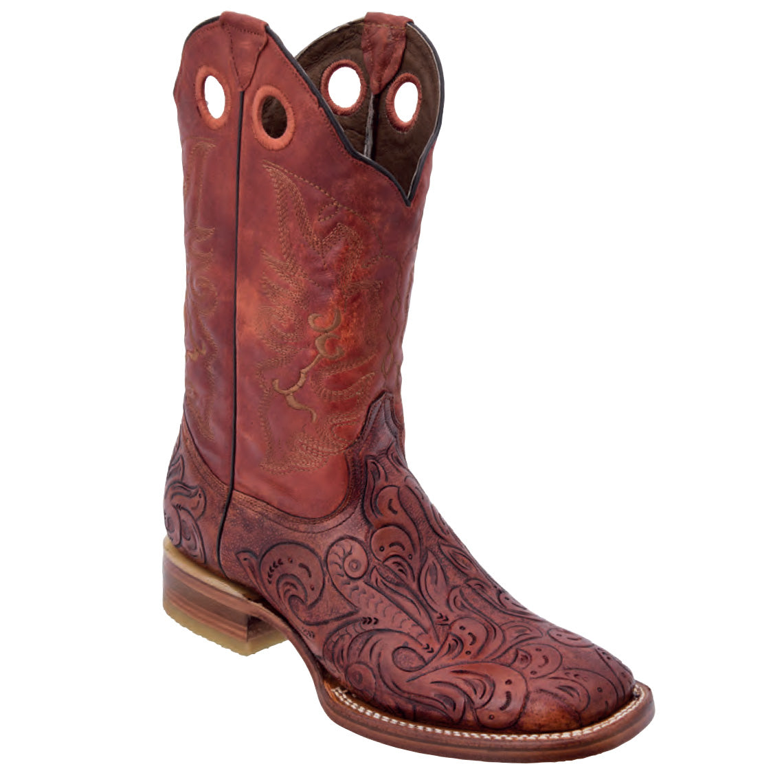 White Diamond Hand Tooled Square Toe Boots