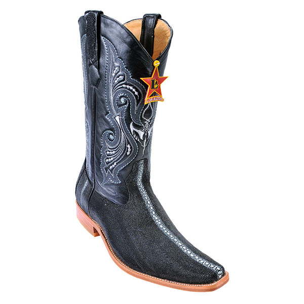 Los Altos Stingray Row-Stone Black European Toe Boots - VaqueroBoots.com - 2