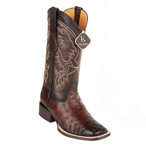King Exotic Men's Ostrich Wide Square Toe Boots - VaqueroBoots.com - 2
