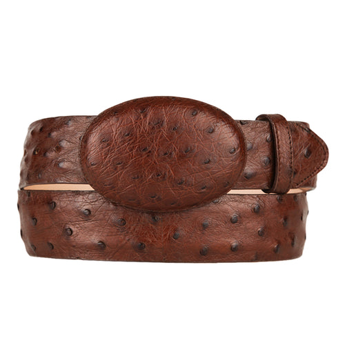 Men's Brown Ostrich Cowboy Belt