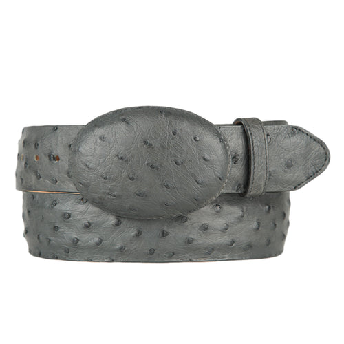 Men's Grey Ostrich Cowboy Belt
