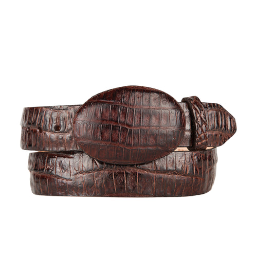 Brown Caiman Belly Cowboy Belt