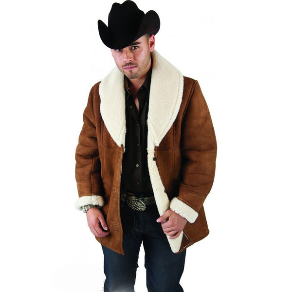 Men's Long Sheepskin Jacket - VaqueroBoots.com - 1