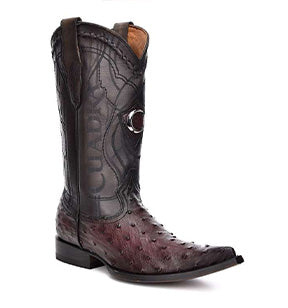 Cuadra Men's Ostrich Chihuahua Toe Pointed Cowboy Boots - Black Cherry