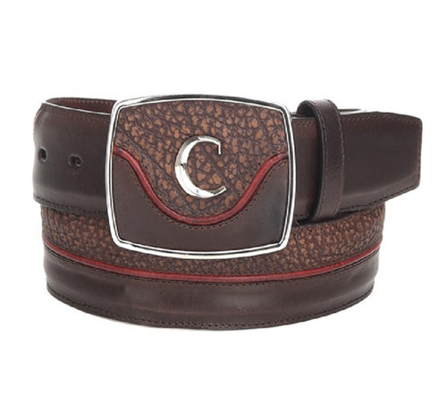 Cuadra Men's Modern Leather Belt Desert Brown Red