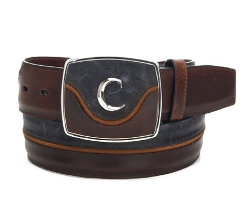 Cuadra Men's Modern Leather Belt Desert Navy Blue