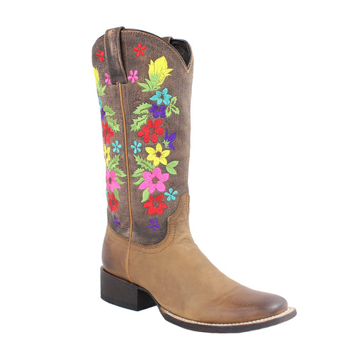 Caborca - Women's American Tan Flowered Square Toe Boots