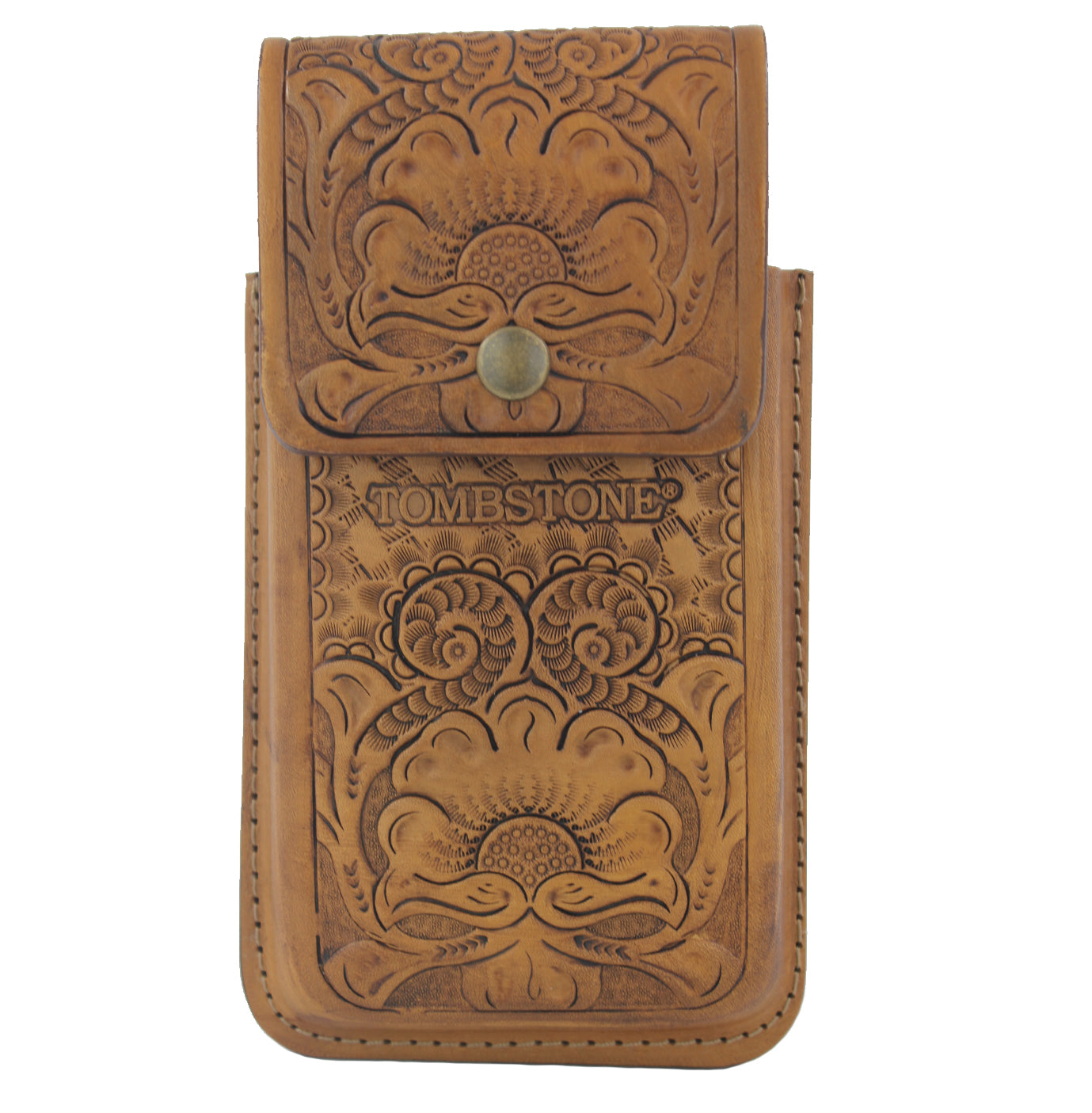 Tombstone Leather Tooled Floral Cell Phone Case