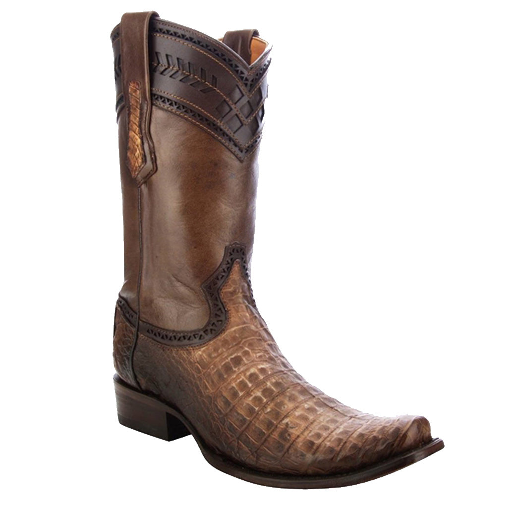 Cuadra Men's Stone Sand Caiman Belly Boots - Semi Square Toe