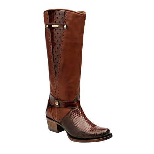 Cuadra Antique Miel Ladies Genuine Lizard Tall Boot - VaqueroBoots.com
