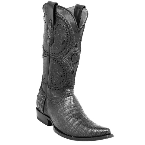 Los Altos Men's Wide Square Toe Caiman Belly Boots Honey Greasy Finish