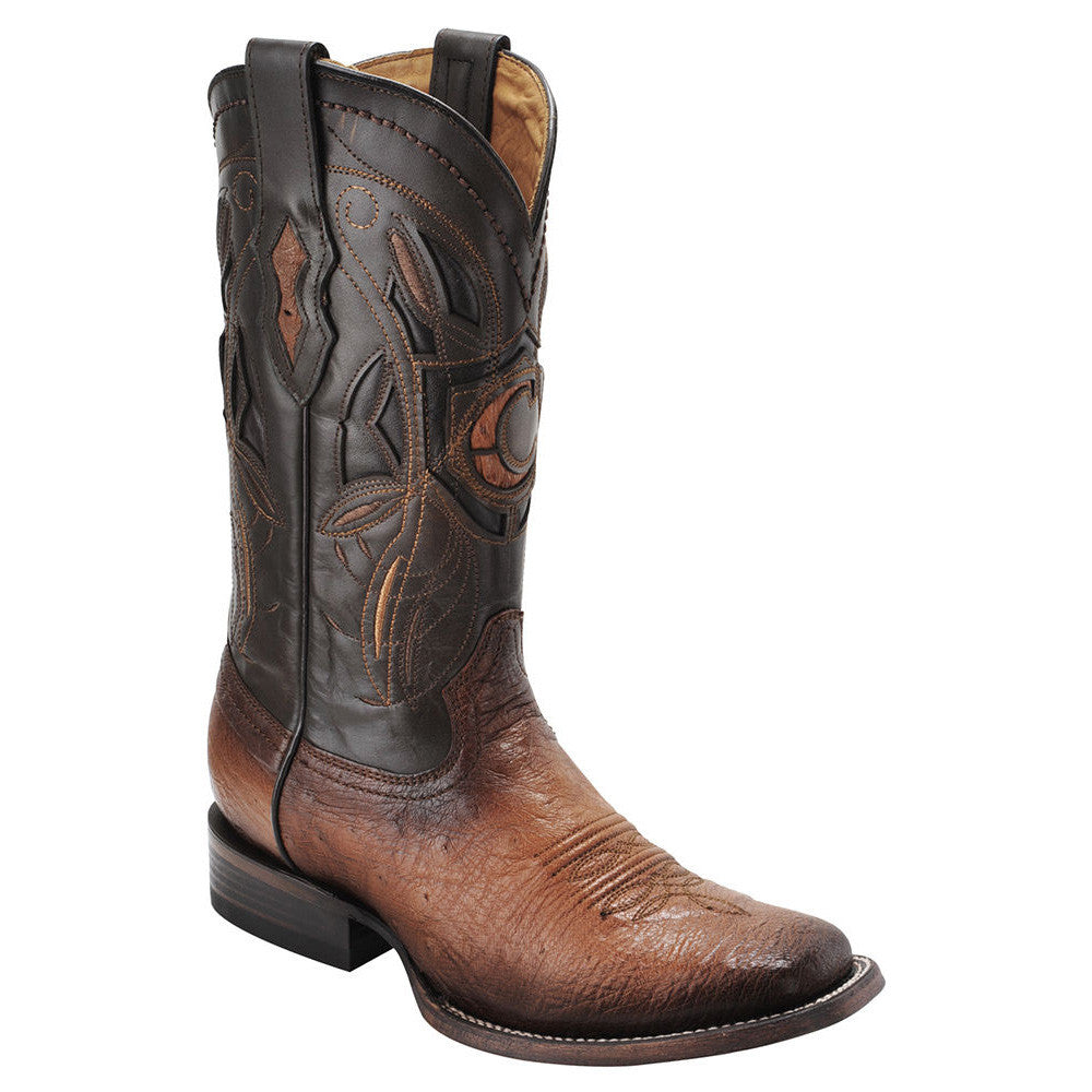 Cuadra Mens Ostrich Belly Wide Square Toe Cowboy Boots Flame Honey