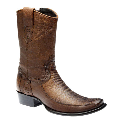 Old Méjico Men's Traditional Western Ostrich Boot Antique Saddle